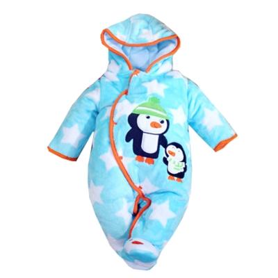厚鋪棉珊瑚絨連帽包腳連身衣 藍 k37760