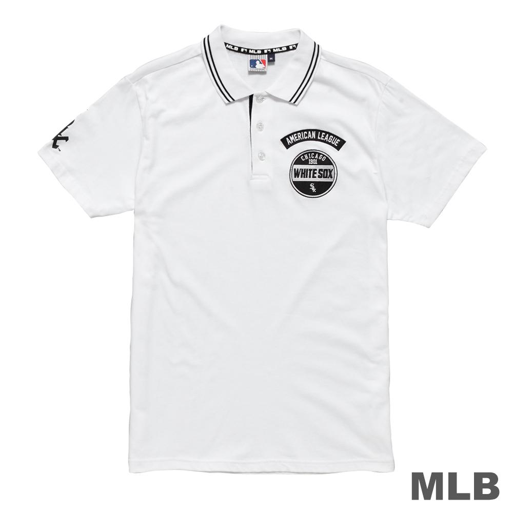 MLB-芝加哥白襪隊LOGO印繡花POLO衫-白 (男)