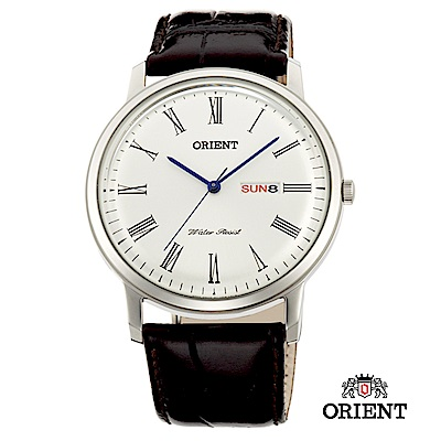 ORIENT 東方錶 CLASSIC DESIGN系列 羅馬數字日期星期顯示石英錶 銀色