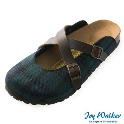 Joy Walker 經典交叉包頭拖鞋*綠格紋