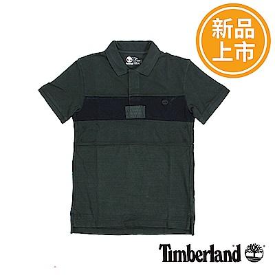 Timberland 男款軍綠條紋 POLO 衫