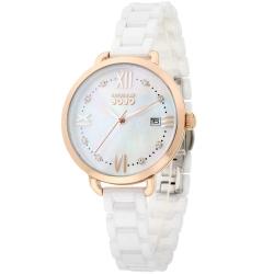 NATURALLY JOJO 氣質愛慕陶瓷腕錶(耶誕特別款)珍珠母貝-白/玫瑰金-36mm