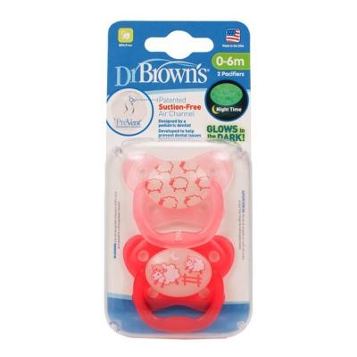 Dr. Brown美國製Pre Vent 功能性夜光安撫奶嘴2組4入(粉紅色)