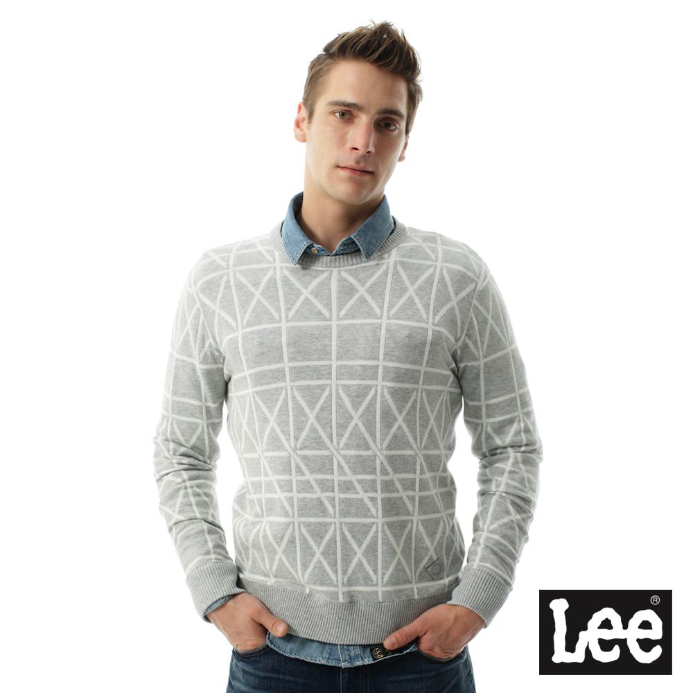 Lee  長袖線條圓領毛衣/UR-男款-灰色