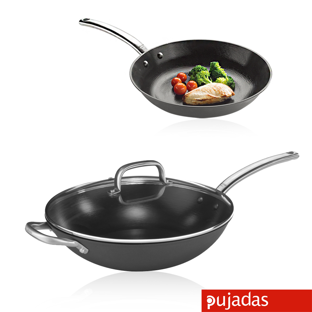 [限時下殺58折] Pujadas西班牙輕量鑄鐵鍋組24cm平底+32cm炒鍋送烤盤+格熱墊+夾