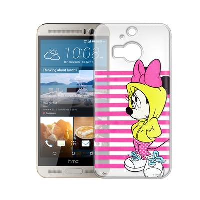 迪士尼 HTC One M9+ 街頭透明軟式手機殼(帽T米妮)