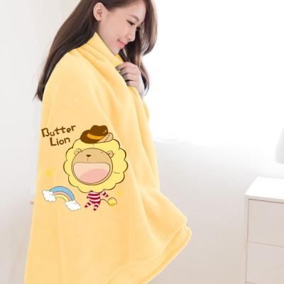 奶油獅-台灣製造-羊羔絨超細纖維雙面隨意保暖毯-彩虹牛仔款-暖黃