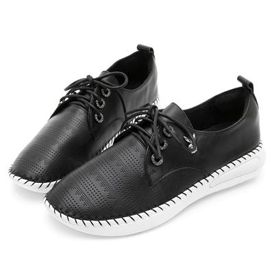 PLAYBOY都會休閒  水鑽鞋孔真皮綁帶休閒鞋-黑
