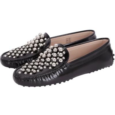 TOD'S Sha 金屬圓珠設計豆豆休閒鞋(女鞋/黑色)