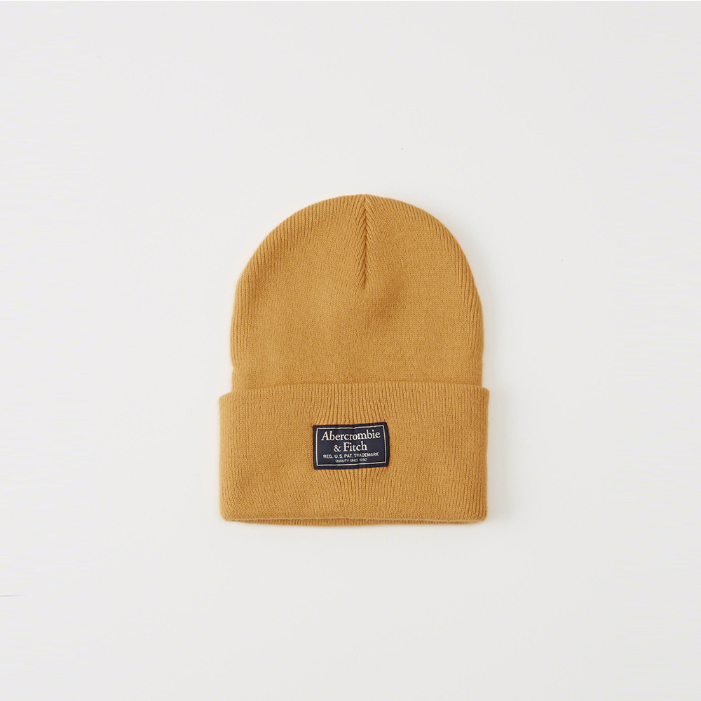 A&F 經典標籤文字保暖毛帽-金色 AF Abercrombie