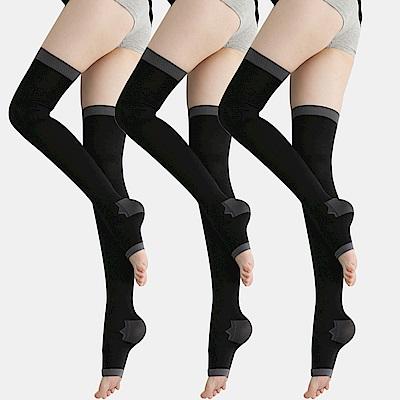 足下物語 台灣製 360丹美化曲線睡眠襪 3件組(黑)