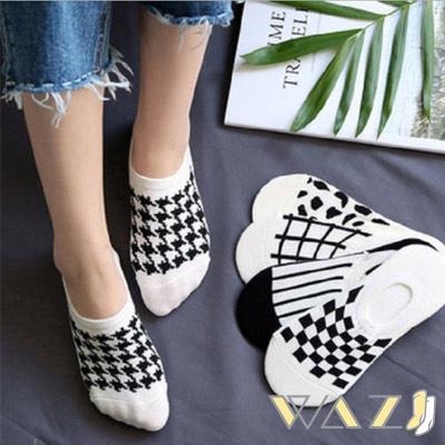 Wazi-黑白配千鳥格條紋踝襪隱形襪 (1組五入)