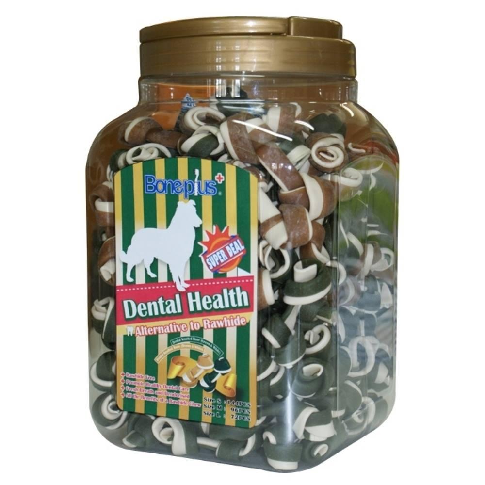 Bone Plus 綜合高鈣雙色潔牙骨結-家庭號《桶裝》
