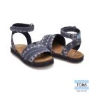 TOMS 條紋蠟染帆布平底涼鞋-幼童款