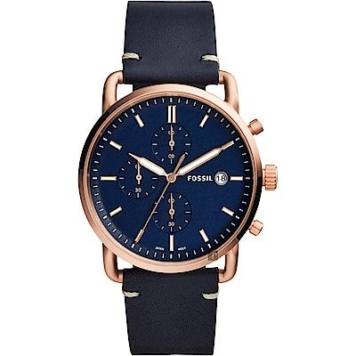 FOSSIL Commuter 潮男時尚計時手錶-藍/42mm