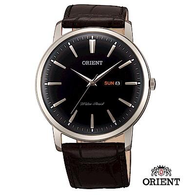 ORIENT 東方錶 CLASSIC DESIGN系列 日期星期顯示石英錶 皮帶款 銀黑色