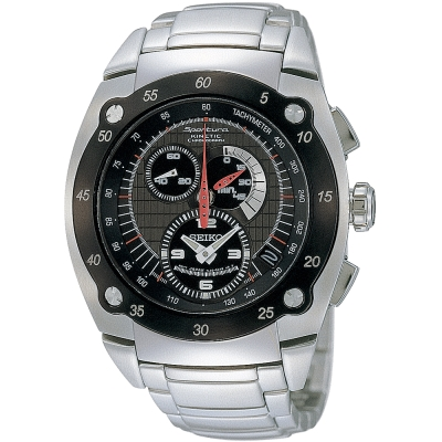 SEIKO Sportura Kinetic 經典三眼計時腕錶(SNL043P1)-黑/46mm