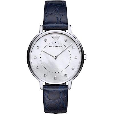 Emporio Armani 璀璨晶鑽時尚真皮手錶(AR11095)-珍珠貝X藍/32mm