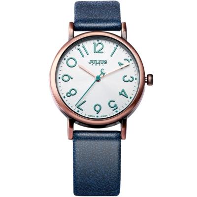 JULIUS聚利時 我的小宇宙立體刻度皮錶帶腕錶-藍色/33mm