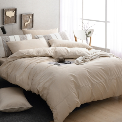DON極簡生活-氣質米 雙人四件式200織精梳純棉被套床包組