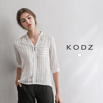 東京著衣-KODZ 緞面優雅條紋白襯衫-S.M.L(共一色)