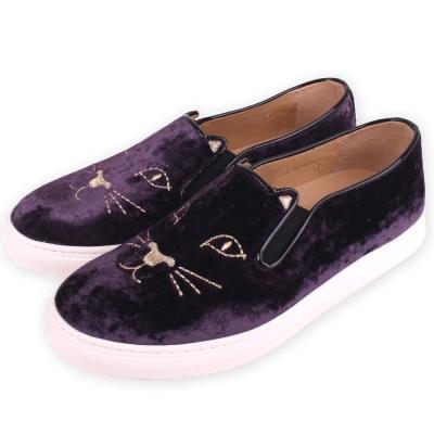 Charlotte Olympia Kitty 經典天鵝絨貓咪厚底鞋(深紫色)