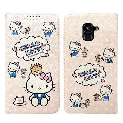 Hello Kitty貓 Samsung A8+(2018) 粉嫩系列彩繪磁力皮...