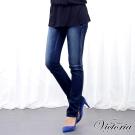 Victoria V字繡花低腰小直筒褲-女-深藍