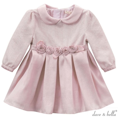 Dave Bella 粉紫玫瑰長袖翻領禮服洋裝