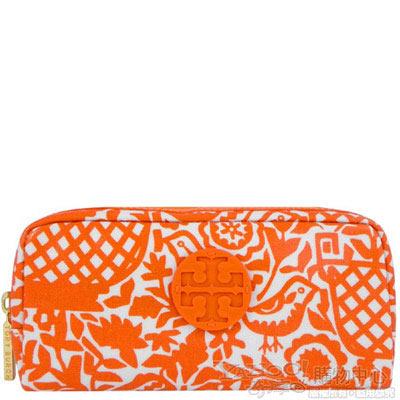 TORY BURCH 橘色LOGO飾牌化妝包