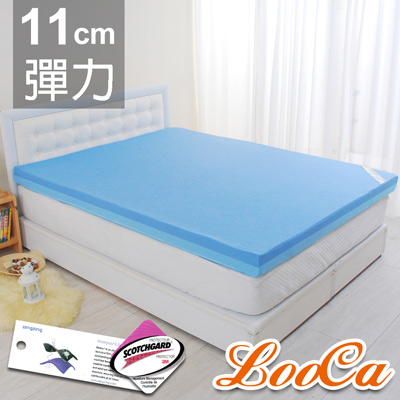 LooCa 護理級雙效防水11cm彈力記憶床墊-加大