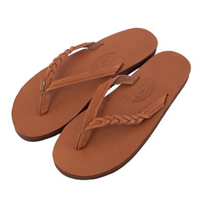 Rainbow Sandals美國人氣全真皮夾腳休閒拖鞋-駝色