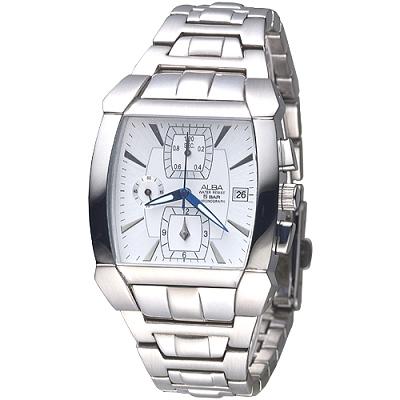ALBA 決戰未來三眼時尚計時錶(AF8D59X1)-銀白/36mm