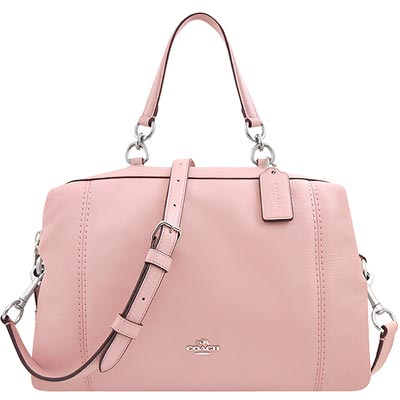 COACH 櫻花粉色皮革波士頓包