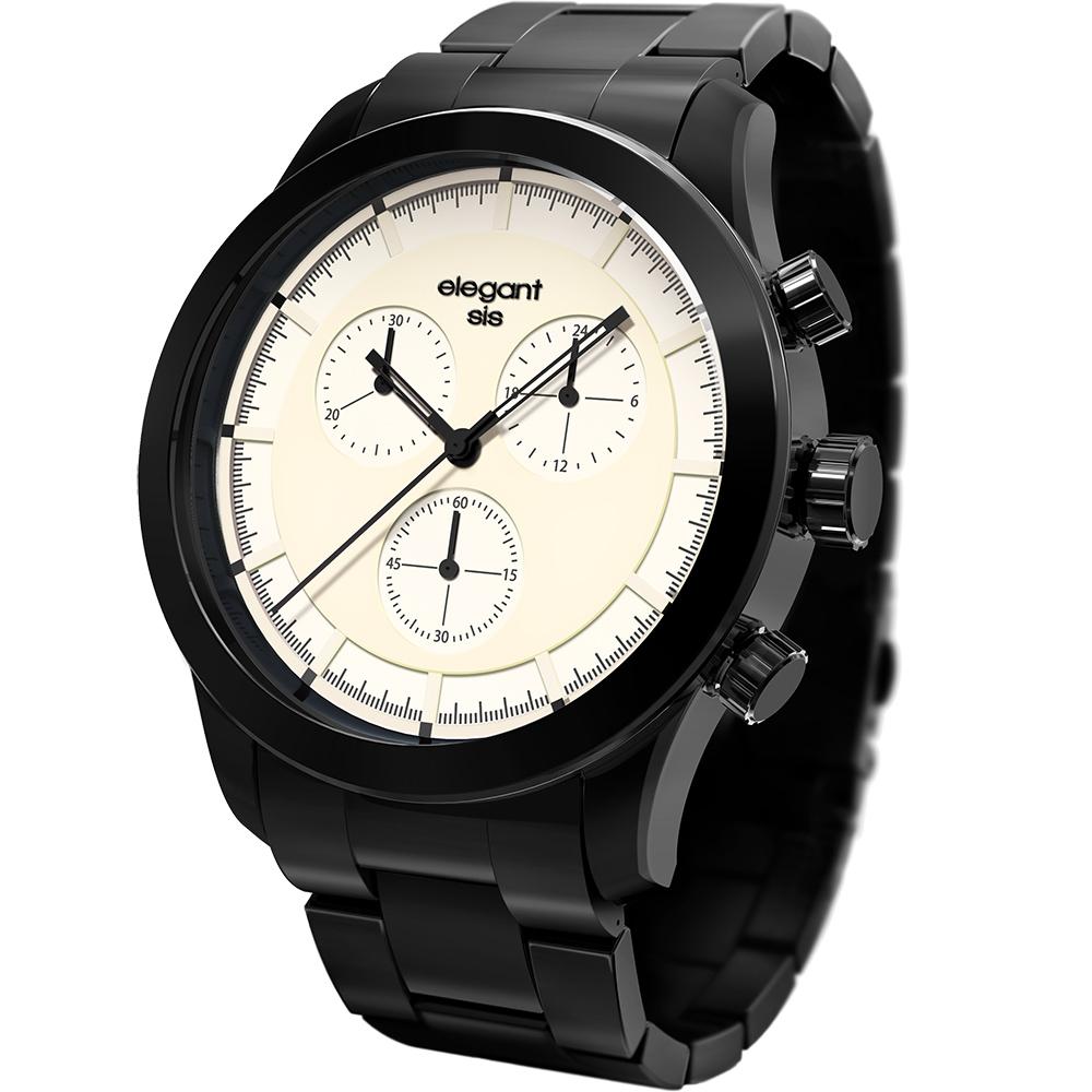 elegantsis Clasic Fashion 城市玩家計時腕錶-米白x黑/44mm