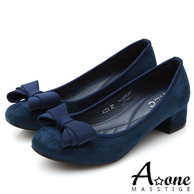 A one 麂絨小方頭蝴蝶結粗跟鞋-藍色