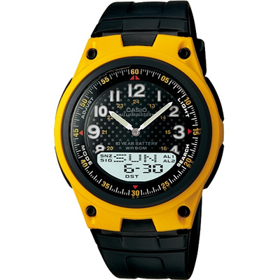 CASIO 城市都會時尚雙顯腕錶-黃框