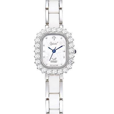 Ogival 愛其華 輕華麗薔薇時尚陶瓷真鑽腕錶-名媛白 320-03DLW