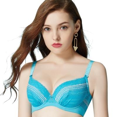 思薇爾 海洋派對系列A-E蕾絲壓模包覆內衣(沁波藍)