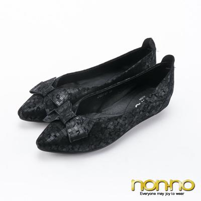 nonno 亮漆個性蝴蝶造型尖頭平底鞋-黑