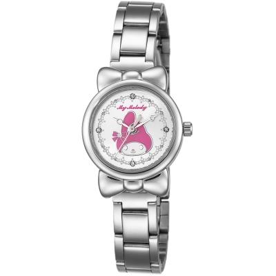 HELLO KITTY 美樂蒂可愛蝴蝶結俏皮手錶-白x粉紅/27mm
