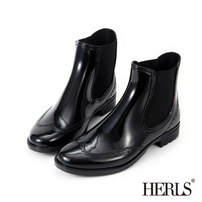 HERLS 雨中漫步 側鬆緊雕花短筒雨靴~黑色
