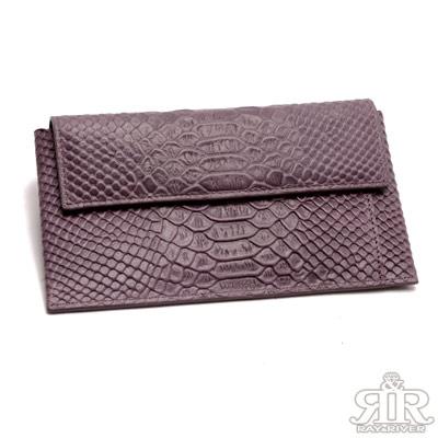 2R-牛皮雕壓鱷紋breeze雙長夾-巧紫紅
