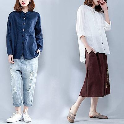 棉麻純色打摺襯衫-XL~2XL(共兩色)-Keer