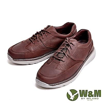 W&M 輕量減壓系列 透氣孔休閒 男鞋-咖(另有黑)