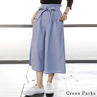 Green Parks 細直紋腰際綁結打摺寬擺褲