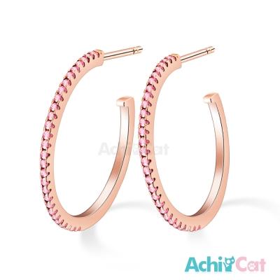 AchiCat 925純銀耳環 奢華世界 (玫金粉鋯)