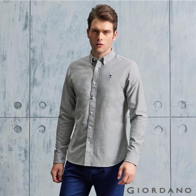 GIORDANO 男裝純棉修身刺繡圖案長袖襯衫 - 15 灰色