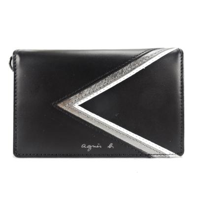 agnes-b-燙銀logo三角幾何證件夾-黑