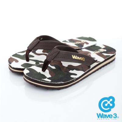 WAVE3【男】獨家設計LOGO迷彩人字夾腳拖鞋~咖